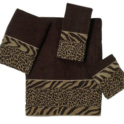 Avanti Linens - Cheshire 4 Piece Cotton Towel Set by Avanti Linens - Cheshire is a classic animal skin design with a modern twist. The border is made from heavyweight jacquard fabrics. The center of the border is a cheetah design, surrounded on top and bottom by a zebra print on the hand and bath sizes. The top and bottom is merrowed to complete the look. The color of the towels is Java.