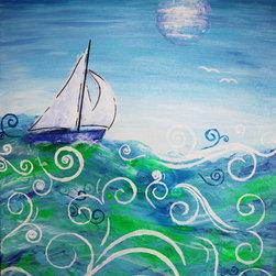 "Jan Marvin Art Studio - Acrylic Painting Original Art on Canvas, Sailing 24x18x.75 by Jan Marvin - ""Sailing"" Original Acrylic Painting by Jan Marvin, 'The Art of Joy'"