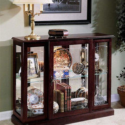 Pulaski - Console Curio Cabinet - V-grooved front glass