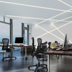 TruLine .5A 2.5W 24VDC Plaster-In LED System by Pure Lighting - TruLine .5A 2.5 Watt 24VDC Plaster-In LED System creates a clean line of glare free general illumination within drywall. The linear LED system features a shallow 5/8 inch deep plaster in aluminum extrusion no thicker than drywall that houses a single row of high CRI commercial grade white LED Soft Strip. Its .5 inch wide diffuser lens projects a clean line of light without LED dots. System mounts directly to studs without joist modification. TruLine .5A is sold in 1 foot increments up to 40 feet at 2.5 watts per foot, and may be field cut to any length. LED Soft Strip may be cut every 2.4 inches. Available in 2400K Amber White, 3500K Neutral White, 4000K Cool White and 5700K Daylight White with 85CRI, 52 lumens per watt/169 lumens per foot. Also available in 2700K Very Warm White and 3000K Warm White with 95CRI, 52 lumens per watt/169 lumens per foot. Average lamp life 50,000 hours. TruLine .5A can be installed on a single surface plane (wall or ceiling), or on multiple planes that join runs from wall to ceiling or from one wall to an adjacent wall. Optional accessories available to create desired configurations including picture frame miter and room wrapping applications. System includes TruLine .5A channels, end caps, LED Soft Strip, TL.5A junction boxes and all mounting hardware. Electronic low voltage LED power supplies include PSB-60-ELV-24VDC (60 watt output), PSB-100W-ELV-24VDC (100 watt output), or PSB-2X100-ELV-24VDC (2X100 watt output). Compatible dimming options for ELV power supplies include: Legrand Adorne ADTH700RMTU, Lutron DIVA DVELV-300P, Lutron Skylark SELV-300P, or Lutron Maestro MAELV-600. 0-10 Dimming power supplies include: PSB-96W-010-24VDC (96 watt output) or PSB-2X96W-010-24VDC (192 watt output). Compatible dimming options for 0-10 power supplies include: Phillips Sunrise SR1200ZTUNV, Leviton IP710-DL, Lutron Nova T, Radio Ra2 (with GRX-TVI), Grafik Eye Qs (with GRX-TVI), or Lut