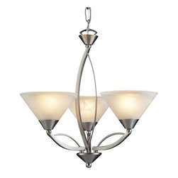 Elk Lighting - Elk Lighting-7635/3-Elysburg - Three Light Chandelier - The geometric lines of this collection offer harmonious symmetry with a sophisticated contemporary appeal.  A perfect complement for kitchens, billiard parlors, or any area that requires direct lighting.  Featured in Satin Nickel with white marbleized glass or Aged Bronze finish with tea stained brown swirl glass.