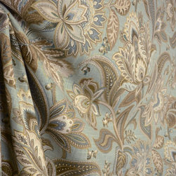 Swavelle - Valdosta Mist Blue Floral Fabric By The Yard - Valdosta Mist is a Swavelle Mill Creek Floral Fabric. Blue, browns and golds this fabric is great for bedding, curtain, pillows and light upholstery.