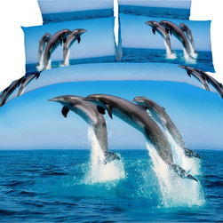 Dolce Mela - Marine Luxury Bedding Duvet Cover Set Dolce Mela DM425, Queen - Transform your bedrooms energy with this spectacular animal themed bedding of adorable dolphins dancing on the crystal blue ocean and set the perfect mood for your boys or girls bedding decor.