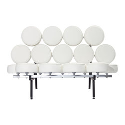 """East End Imports - Othello Couch in Genuine Leather White - This unconventional sofa brings both fun and modern styling to your home. Featuring a whimsical design of """"floating"""" genuine leather cushions, the Othello Couch is not only astonishing in its appearance, but also surprisingly comfortable."""