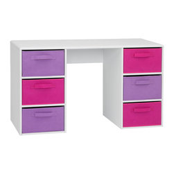 "4D Concepts - 4D Concepts Girl's Student Desk in White - What a perfect student desk for a girls room!  The desk surface is a vacuum formed surface  with gently rolled edges.  This durable pvc laminate makes this item a great choice for any child's room.  The pink and lavender large folding canvas drawers (Drw 13.25 ""w x 18.75""d x 8""d) give plenty of storage to meet your needs. The drawers rest gently on the shelf and have canvas handles on both sides of the drawer for pulling out of the unit, or pulling completely out and taking with you to another room in the house. Constructed of Composite Board and highly durable PVC laminate.  Clean with a dry non abrasive cloth.   Assembly required."