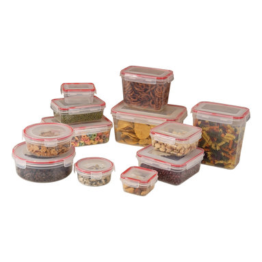 Cookpro - 24-piece Lock and Seal Container Set with Lids - Here's a set of 12 containers and lids for those who like to keep everything just so. Made of food-grade plastic, they each have matching, locking lids to keep the air out and the fresh in. They nest for easy storage — and are freezer, microwave and dishwasher safe.