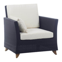 All Things Cedar - All Things Cedar PR30 Rattan Deep Seating Arm Chair, White - Comes with lined and zippered Deep Seat Cushion - available in 6 colors. Cushions made of weather resistant polyester fabric and 5.5 inches of high density foam. Heavy-gauge aluminum tube frame - no rust. Welded aluminum joints are ground and polished. UV inhibitors repel the damaging effects of the sun & harsh weather - maintanence free. Wicker strapping is synthetic resin and hand wrapped for a natural, softer feel.     Color:  deep brown/black webbing w/ solid teak legs   Dimensions:   33 x 33 x 34 in. (w x d x h)