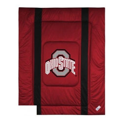 Sports Coverage - Ohio State Bedding - NCAA Sidelines Comforter - Full - Show your team spirit with this great looking officially licensed Ohio State comforter which comes in new design with sidelines. This comforter is made from 100% Polyester Jersey Mesh - just like what the players wear. The fill is 100% Polyester batting for warmth and comfort. Featuring authentic Ohio State team colors, each comforter has the authentic Ohio State logo screen printed in the center. Soft but durable. Machine washable in cold water. Tumble dry in low heat. Covers are 100% Polyester Jersey top side and Poly/Cotton bottom side. Each comforter has the team logo centered on solid background in team colors. 5.5 oz. Bonded polyester batts. Looks and feels like a real jersey!