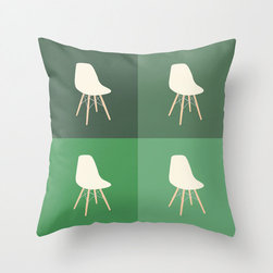 Quadruple Chair Portrait Pillow Cover - The repetition of an image may demean its significance, but it does nothing to diminish the beauty of this retro-inspired, Quadruple Chair Portrait pillow cover. Incorporating four soothing shades of green, this individually cut and hand-sewn with 100% spun polyester poplin fabric pillow cover will add a touch of playful modernism to your home, and be sure to make a statement in any room.