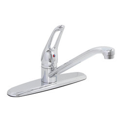 Premier - Bay view Lead-Free Single-Handle Loop Handle Kitchen Faucet - Chrome - The Premier Bay view kitchen faucet includes an easy-to-grip loop handle that provides precise temperature and volume control. Bay view faucets are an excellent choice for those seeking economy and style. This faucet features a machined lead-free brass valve body, 3/8in. OD soft copper corrugated supply lines with 1/2in. IPS connections, and a deluxe chrome finish. The Bay view kitchen faucet delivers a powerful flow rate of 2.2 gallons per minute.
