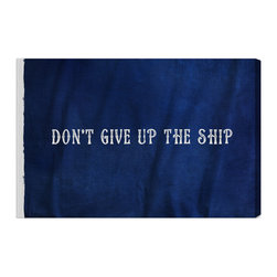 """The Oliver Gal Artist Co. - 'Don't Give Up The Ship' Fine Art Canvas 24"""" x 16"""" - Let the defiant words of U.S. Naval Captain James Lawrence motivate you with this fine art canvas. Just as these words flew above his ship in 1813, they will grace your wall in your choice of three sizes. Perfect for a home office where encouragement and inspiration are always appreciated."""