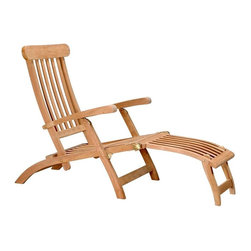 Anderson Teak - Royal Steamer Armchair - Unfinished - Quite a striking selection, the Steamer lounge features comfort in an utterly fascinating design concept, making it an enticing poolside furnishing.  This chair adjusts to four relaxing positions and is made of a handsome Teak wood composition.  This is the perfect poolside lounger.  Steamer styling is a classic that will be at home in any settings.  Adjustable positions provide the comfort required for relaxation in shade or the sun. * Slat back design. With arms. Can be adjusted to 4 positions. Perfect for that backyard patio, pool or garden. Titanic style. Teak wood construction. Overall: 46 in. W x 23 in. D x 36 in. H (40 lbs.). Seat height: 13 in.Relax in Titanic Style. Don't compare with Redwood, Pressed wood, Mahogany or even Cedar for quality. Teak means highest durability and maximum beauty. More comfort, beauty and durability. Our Royal Steamer can be adjusted to four positions, from fully upright to semi-reclining, by simply lifting the arms when seated.