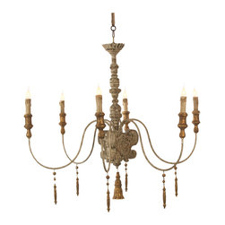 Kathy Kuo Home - European Country Italian 6 Light Gray Wash Chandelier - This rustic hand-painted chandelier is great in an entry hall or above a dining table. Hang with the matching canopy and chain.