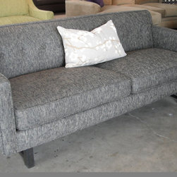 AMANDA STYLE - MID-CENTURY MODERN - With a button-tufted back, smart welting and a stretcher base, the AMANDA sofa is full of special details reminiscent of mid-century styles and available in ANY SIZES ANY FABRIC