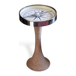 Kathy Kuo Home - Nautical Glass and Rope Coastal Style Compass Accent Side End Table - Everyone needs a first mate like this to point them in the right direction. This playful, yet refined, accent table holds a working compass beneath its glass top with the base wrapped in jute rope. Its nautical sensibility will look equally at home in your beach house getaway as it will in your den or formal living room.