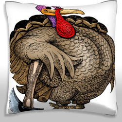Custom Photo Factory - Turkey Posing with Axe Pillow.  Polyester Velour Throw Pillow - Turkey Posing with Axe Pillow. 18 Inches x 18  Inches.  Made in Los Angeles, CA, Set includes: One (1) pillow. Pattern: Full color dye sublimation art print. Cover closure: Concealed zipper. Cover materials: 100-percent polyester velour. Fill materials: Non-allergenic 100-percent polyester. Pillow shape: Square. Dimensions: 18.45 inches wide x 18.45 inches long. Care instructions: Machine washable