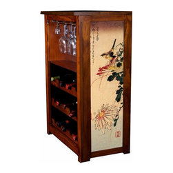 "Kelsey's Collection, Inc. - Hiroshige Wine Cabinet Small Bird With Chrysanthemum - Pine Wine Cabinet  stores wine and glassware with famous artwork by Ukiyoye artist Aldo Hiroshige giclee-printed on canvas side panels. The art is giclee printed on canvas with three coats of UV inhibitor to protect against the sunlight and thereby extend the longevity of the art. The canvas is then glued onto panels and inserted into the frames. Kelsey's Wine Cabinet showcases and stores wine and glassware with solid radiata pine construction. Famous artwork is giclee-printed on canvas side panels which provide a unique decorating touch of art that enhances the product and reflects your home-decor style.  The frame, top, and racks are solid New Zealand radiata pine with a hand stained and hand rubbed rubbed medium reddish brown finish, that is then protected with a  lacquer coat and top coat.. Kelseys Collection is where ""Great Art & Function Meet""  This model is also referred to as the Jessica model. Dimensions are 33 by 22 by 12 deep.  Holds 15 wine bottles and full sized wine glasses.  Some assembly required."