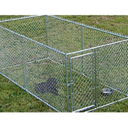 Jewett-Cameron Companies - Lucky Dog Box Kennel without Cover, 10'L x 5'W x 4'H - 4' high, box dog kennel. Easy to assemble welded and galvanized frame. Square corner safety design. Pre-assembled gate for ease of set up