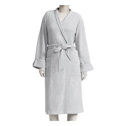 Premier Comfort - Premier Comfort Heathered Rayon/Poly Terry Robe - Relax at home in the Women's Premier Comfort Heathered Rayon Blend Wrap Robe. Made from a rayon and terry blend, the wrap robe is soft and comfortable and includes a tie belt and two pockets on the front. Can be worn with cuffed sleeves and comes in a heathered grey and heathered khaki. Machine washable for easy care. S/M=2-8, L/XL=10-16 68% rayon 32% poly terry 260gsm single dye (heather)