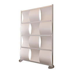 "LOFTwall - LOFTwall Wave Partition, 52"" Wide - The 52"" wide LOFTwall Room Partition is four panels tall and three panels wide. Perfect for creating privacy within a larger room, this room divider features an aluminum frame with plastic wave-shaped panels."