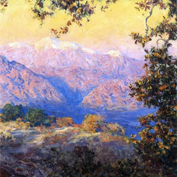 "Guy Orlando Rose Sunset Glow (also known as Sunset in the High Sierras) - 16"" x - 16"" x 20"" Guy Orlando Rose Sunset Glow (also known as Sunset in the High Sierras) premium archival print reproduced to meet museum quality standards. Our museum quality archival prints are produced using high-precision print technology for a more accurate reproduction printed on high quality, heavyweight matte presentation paper with fade-resistant, archival inks. Our progressive business model allows us to offer works of art to you at the best wholesale pricing, significantly less than art gallery prices, affordable to all. This line of artwork is produced with extra white border space (if you choose to have it framed, for your framer to work with to frame properly or utilize a larger mat and/or frame).  We present a comprehensive collection of exceptional art reproductions byGuy Orlando Rose."