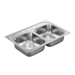 Moen - MOEN G222173 22GA SS KTN SINK - The 2000 Series delivers design and functionality at a value. A variety of configurations and mounting options in quality 20-gauge stainless steel give you choices that fit almost any countertop material.