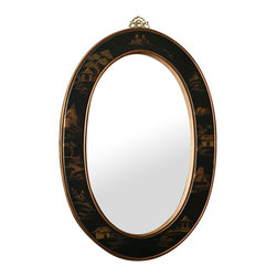 China Furniture and Arts - Chinoiserie Scenery Motif Oval Mirror - Simple and elegant with exotic oriental gold highlighted scenery carved in Chinoiserie motif on black matte finished wood frame. Perfect for hallway or powder room. Brass hanger included on the back. Beveled mirror.
