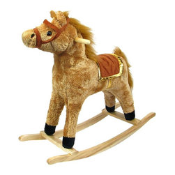 Happy Trails - Western Style Plush Rocking Horse w Wood Fram - Recommended for ages 2 yrs. old & up. Recommended Weight Limit: 80 lbs.. Soft and plush to the touch. Hand crafted with a hard wood core and stands on sturdy wood rockers. 11 in. L x 28.50 in. W x 26 in. H (7 lbs.)This handsome rocking horse is sure to be your little cowboy's favorite. This beautiful piece will surely be a focal point in any little boy's room.