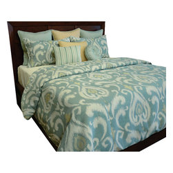 Eva Duvet Set, Ultra King - A Pearl Mystic Turquoise modern scroll pattern with highlights of Lemon Chiffon giving a fun artistry feel to any room.