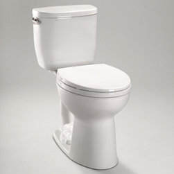 Toto - Toto   Entrada Close Coupled Toilet - Round Bowl - Made by TOTO USA.The Entrada Close Coupled Toilet offers a compact form that is perfect for smaller bath spaces. This premium TOTO toilet is made from durable vitreous china that is stain resistant. The E-Max high efficiency flushing system helps to preserve limited resources with its 1.28 gallon per flush rating, without sacrificing flush power. Features: