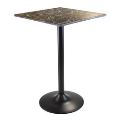 Winsome Wood - Square Pub Table - Stylish top. Chic and durable. Sophisticated look. Made from faux marble and metal. Black color. Assembly required. 23.62 in. W x 23.62 in. D x 35.43 in. H