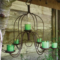 Large Iron Chandelier - Chandeliers are one of the most romantic pieces you can own. The Large Iron Chandelier offers curvaceous lines in a neutral finish. Charming over an outdoor dining space or your very own secret garden.