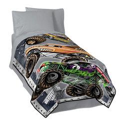 """Jay Franco - Monster Jam Fleece Blanket - Monster Jam Plush Twin Size Blanket 62"""" X 90"""""""
