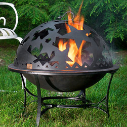 Fire Pit with Starry Night Fire Dome - One and done in this starry domed steel and wrought iron fire pit! It's likely the last one you'll ever need! Built in spark screen, celestial cut outs on the dome, a weighty base with braced legs and a lifting rod for re-fill safety. Your patio is begging for this party starter!