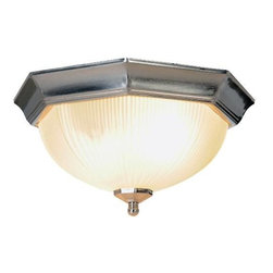 AF LIGHTING - Decorative Ceiling Fixture, Brushed Nickel - Beautify any room with this decorative ceiling fixture. Its classic octagon shape, exceptional brushed nickel finish, and frosted ribbed glass create a dramatic impact and transform this ornate fixture into the focal point of your room.