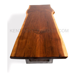 Live Edge Walnut Dining Table On Custom Steel Bases -
