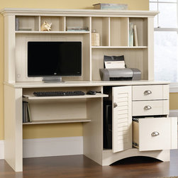 Sauder - Harbor View Computer Desk & Hutch Set - With its smooth, antique-white facade and enough space for all your home office essentials, this set lends classic style and everyday function to the bedroom or den. The slide-out keyboard shelf, three drawers and roomy hutch with six cubbies complete this on-point arrangement.   57.38'' W x 62.25'' H x 23.5'' D Particle board Assembly required Made in the USA