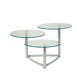 "Adesso - End Table - With three separate table tops, each centered at the corner of a triangular chrome finished base, this item is a must-have for any room! This three-tiered table is arranged in a cascading style, and each tempered glass table top swivels. Features: -Collection: Cascade.-Base Finish: Chrome.-Distressed: No.-Powder Coated Finish: No.-Gloss Finish: No.-Base Material: Metal.-Top Material: Glass.-Hardware Material: Stainless steel.-Nesting Tables: No.-Non-Toxic: No.-UV Resistant: No.-Scratch Resistant: No.-Stain Resistant: No.-Lift Top: No.-Storage Under Table Top: No.-Drop Leaf Top: No.-Magazine Rack: No.-Built In Clock: No.-Drawers Included: No.-Hardware Finish: Brushed steel.-Exterior Shelves: No.-Cabinets Included: No.-Glass Component: Yes -Tempered Glass: Yes.-Beveled Glass: No.-Frosted Glass: No..-Casters: No.-Lighted: No.-Stackable: No.-Adjustable Height: No.-Outdoor Use: No.-Swatch Available: No.-Commercial Use: Yes.-Recycled Content: No.-Product Care: Wipe clean with a dry cloth.-Built In Outlets: No.-Powered: No.Specifications: -General Conformity Certificate: No.-Green Guard Certified: No.-UL Listed: No.Dimensions: -Diameter of each table is 20"".-Overall Height - Top to Bottom (Small) : 12"".-Overall Height - Top to Bottom (Medium) : 16"".-Overall Height - Top to Bottom (Large) : 20"".-Overall Width - Side to Side: 42"".-Overall Depth - Front to Back: 31"".-Overall Product Weight: 40 lbs.Assembly: -Assembly Required: Yes."