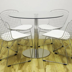 Wire Chairs - Aeon's Wendy Chair w/White Seat Pad Shown with Aeon's Kate-1 Round Tempered Glass Table w/Chrome Base