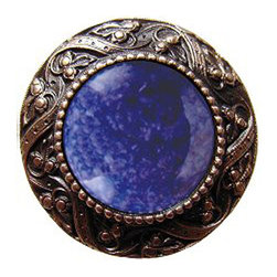 "Inviting Home - Victorian Knob (antique solid bronze with blue sodalite) - Victorian Knob in antique solid bronze with blue sodalite semi-precious stone 1-3/8"" diameter Product Specification: Made in the USA. Fine-art foundry hand-pours and hand finished hardware knobs and pulls using Old World methods. Lifetime guaranteed against flaws in craftsmanship. Exceptional clarity of details and depth of relief. All knobs and pulls are hand cast from solid fine pewter or solid bronze. The term antique refers to special methods of treating metal so there is contrast between relief and recessed areas. Knobs and Pulls are lacquered to protect the finish.  Blue Sodalite Semi-Precious stone. Blue Sodalite is a royal blue colored stone that usually has some white or gray-colored streaks. Blue Sodalite looks a bit more crystal-like. It was named by Professor Thomas Thompson who was called in to identify the specimen that was brought from Greenland to Denmark during the time of the Napoleonic wars - he identified it at first as Sodium Aluminum Silicate Chloride. The stone is associated with the Astrological sign Sagittarius and is thought to promote focus clearing mediation and calming of fears. Victorian Jewel pulls and knobs will allow you to have so much fun with the design. The pulls and knobs come in five different kinds of semi-precious stones: Black Onyx Tiger Eye Blue Sodalite Red Carnelian and Green Aventurine. You can even use all of the different colors of the semi-precious stones on one cabinet facade which would give it an eclectic and playful look."