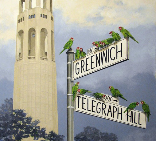 """The Wild Parrots of Telegraph Hill, San Francisco Coit Tower. Original painting - """"The Wild Parrots of Telegraph Hill"""" is an extra large canvas of 50""""x 60""""."""