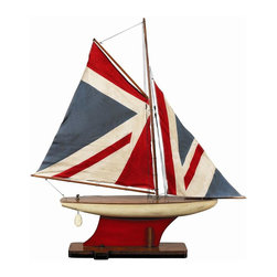 Authentic Models - AM Colored Yacht Ship Model - This lovely Authentic Models ship represents cutting of old nautical country flags and pennants. Cherish its details... Hand sewn and hand finished sails... its a timeless accessory to behold and display. This sailboat is painted using non-toxic paint making it a great accessory for your kids room, den or bedroom. This handsome, decorative display model recalls those breezy days and adds a refreshing nautical touch to your home. Dimensions:  30.7 x 5.5 x 34.4''.