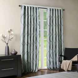 "Madison Park - Madison Park Serendipity Window Curtain - Two-tone embroidered ogee on iridescent taffeta. Soft wave ogee is easy to live with. The beautifully embroidered ogee combined with the silver blue color creates a perfect transitional look. Added lining for energy saving qualities and room darkening benefits. Panel is made with 3"" rod pocket as well as back tabs. Fits decorative rods up to 1.25"" in diameter and continental rods. 100% Polyester taffeta with embroidery, rod pocket."