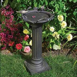 """Roman Birdbath with Birds - A classic column with perching birds to welcome their feathered friends. Made from aluminum and iron. Bronze finish. 24 1/2"""" H, 13"""" dia."""