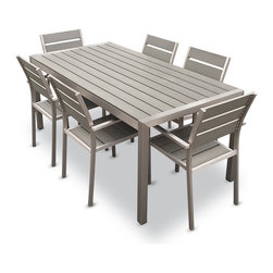 MangoHome - Outdoor Aluminum Resin 7 Piece Dining Table and Chairs Set - This amazing outdoor Dining Set comes with 7 different pieces. It is very functional and can be arranged many different ways to meet your needs! Look at our pictures to view all of the possibilities! Each wicker set is hand crafted by trained professionals with premium quality materials assuring your set will last many years!