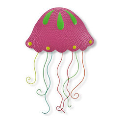 Large Hot Pink Jellyfish Metal Wall Hanging Hand Painted - This beautiful metal wall hanging features a hot pink jellyfish, with yellow, red, orange and lime green accents. It measures 23 1/2 inches tall, including the tentacles, 16 inches long and about an inch thick. It`ll add a splash of color to any room, and makes a great gift for beach lovers. NOTE: These are hand-painted, one at a time, and there may be slight differences in color and pattern from the one pictured.