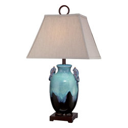 """Quoizel - Quoizel Amphora Table Lamp X-T2371MAKC - Contrasting elements combined with a unique color palette are what set the Amphora table lamp apart. The base is rendered in hues of turquoise and brown and features a twist on each handle for an uninspired design that is beautifully complimented by the rectangular brown fabric shade. The """"Oshaped"""" finial is the perfect finishing touch."""