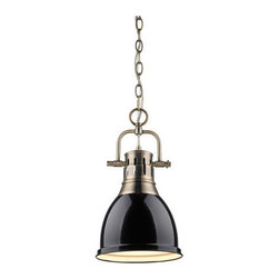 Golden Lighting - Golden Lighting 3602-S-AB-BK Duncan 1 Light Mini Pendant, Aged Brass/Black - Contemporary Style with industrial feel. Simple, classic silhouette. Fixture body is available in Chrome, Aged Brass, and Pewter. Variety of plated and painted metal shade finishes. Wide, open-bottom shades. Eye-catching accent that can be used individually or arrayed in a group. Creates a soft glow for task lighting. Allows for greater open area around the fixture.