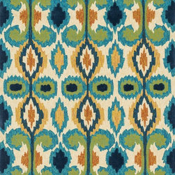 """Loloi Rugs - Loloi Rugs Enzo Collection - Ivory / Blue, 2'-3"""" x 3'-9"""" - The Enzo Collection takes this high-fashion pattern outdoors. The allover Ikat designs enjoy a rich, bold, bright palette. The hand-hooked polypropylene and polyester rugs feature three dimensions of texture including hooks and cut pile for an overall look that exceeds expectations for an outdoor product."""