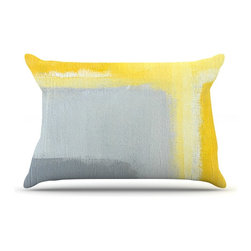 """Kess InHouse - CarolLynn Tice """"Inspired"""" Grey Yellow Pillow Case, Standard (30"""" x 20"""") - This pillowcase, is just as bunny soft as the Kess InHouse duvet. It's made of microfiber velvety fleece. This machine washable fleece pillow case is the perfect accent to any duvet. Be your Bed's Curator."""